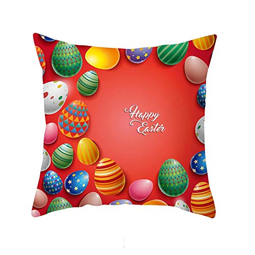 heresell Easter Cushion Cover Easter Style Pillowcase Cute Rabbit Colored Egg Pattern Cushion Cover Home Decoration