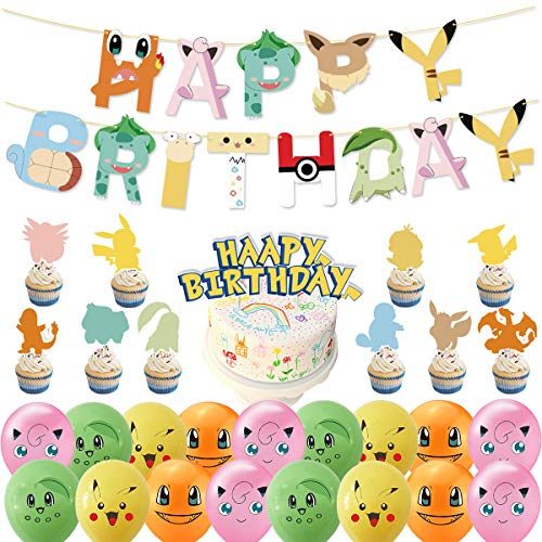 BESTZY Globos para fiestas de Niños 38PCS Suministros de globos de fiesta de Pokemon Decoración para tartas con diseño para Favores Regalo Carnaval Boda