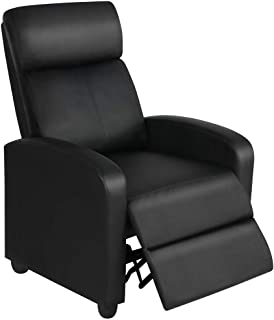 Yaheetech Recliner Chair PU Leather Recliner Sofa Home Theater Seating with Lumbar Support Overstuffed High-Density Sponge Push Back Recliners