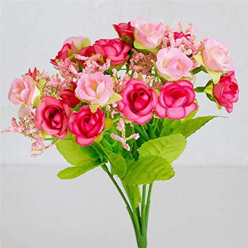 ERJQ Kunstbloemen, zijdebloem, bruiloftsboeket, rozen, kunstbloemen, namaakbladen, bruiloft, bloem, bruidsboeket, decoratie (2 stuks)