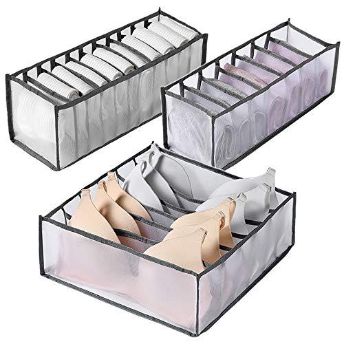 Organizador de cajones para ropa interior, 3 unidades mejoradas lavables caja de almacenamiento de ropa interior, malla duradera de alta capacidad gris separador de cajones