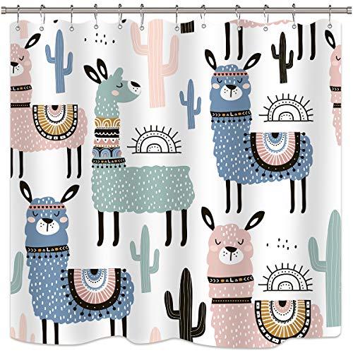 Riyidecor Llama Shower Curtain 72Wx72H Fun Boys Kids Animals Cactus Cartoon Alpaca Bath Decor Fabric Set Polyester Waterproof Inch 12 Pack Plastic Hooks