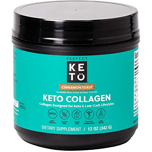 Perfect Keto Collagen Protein Powder with MCT Oil - Grassfed, GF, Multi Supplement, Best for Ketogenic Diets, Use as Keto Creamer, in Coffee and Shakes for Women & Men (Cinnamon Toast)