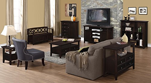 Product Image 9: SIMPLIHOME Amherst SOLID WOOD 48 inch Wide Entryway Storage Bench with Safety Hinge, Multifunctional Transitional inLight Avalon Brown