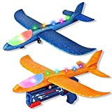 BLUEJAY Airplane Toy, 2 Pack LED 17.5' Large Throwing Foam Plane with Launcher, 2 Flight Mode Glider Flying Outdoor Toys Sports Shooting Game for Ages 3 4 5 6 7 8 9 Year Old Boys and Girls