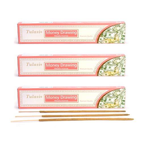 aqasha Tulasi Money Drawing | 24-48 Sticks | 21 cm | Brenndauer ca. 45 min. | Geld-Wachstum Masala | Räucher-Stäbchen-Set | Hand-Arbeit | Incense (36)