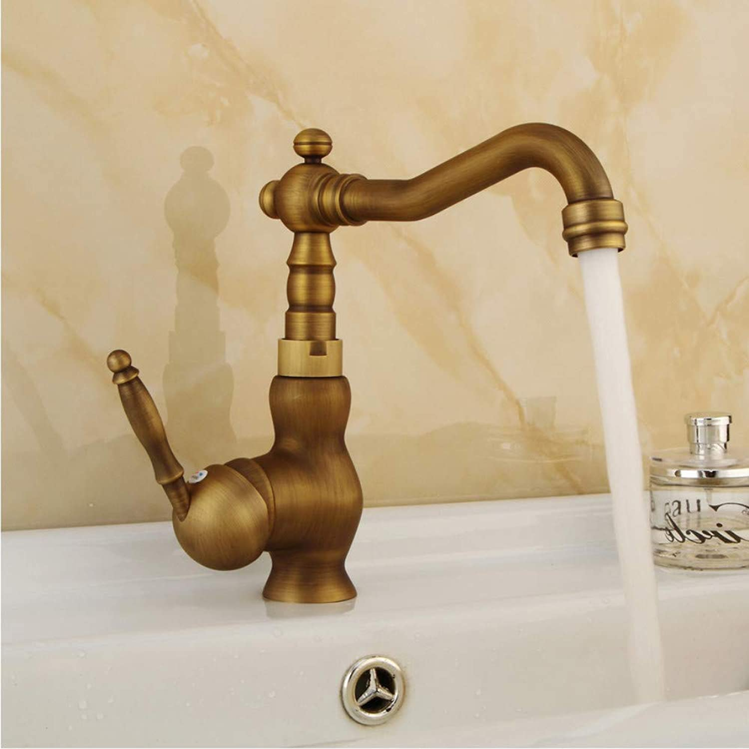LLLYZZ Retro Wirotrawing Brass Bathroom Kitchen Faucets Single Holder Single Rotating Deck Mount Faucet Hot&Cold Water Mixer Tap
