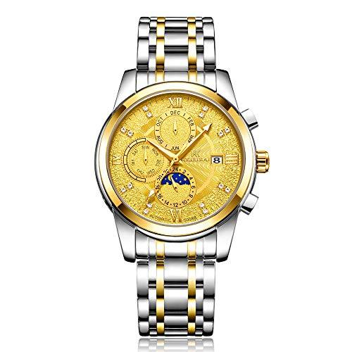 Reloj de Moda Esqueleto mecánico de Acero Inoxidable para Hombre Impermeable automático -C