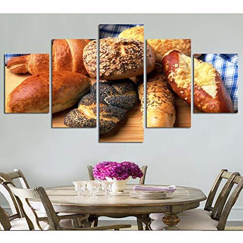 MMLFY 5 opeenvolgende schilderijen woonkamer of keuken HD gedrukt modulaire canvas poster 5 panelen lekker brood muurkunst schilderij wooncultuur foto's