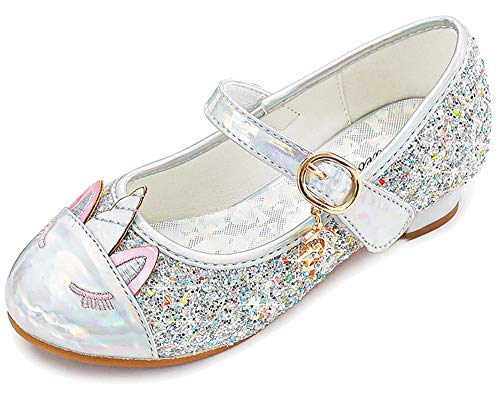 Furdeour Mary Jane Silver Shoes for Toddler Girls Unicorn Wedding Party Prom Glitter Flower Girls Shoes Princess Size 12 Little Girls High Heels Dress Up Shoes(Uni-Silver 12)