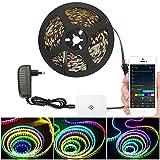 WiFi Dreamcolor LED Streifen, 5M 150 LED Strip mit Multicolor Chasing Effekt, Selbstklebend Lichtband Eingebauter IC, 16 Millionen Farben Dimmbar mit Sync mit Musik, Kompatibel mit Alexa, Google Home