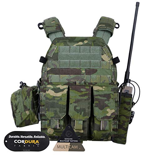 emersongear Tactical Airsoft Vest Modular MOLLE LBT6094A Plate Carrier Vest with Triple Mag Pouches&Radio Pouch,Accessories Pouch (Multicam Tropic)