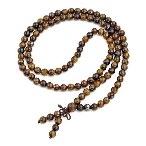 Joya curadora Qgem, 108cuentas pulsera de Buda, cadena de oración budista, tibetana de piedras preciosas, Yoga, Buda, Mala, Collar/6mm de ojo de tigre