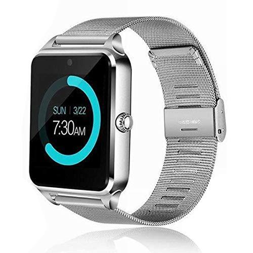 Esenlong Bluetooth reloj inteligente GSM SIM teléfono de acero inoxidable banda fitness Tracker sueño Monitores para IOS Android para hombres mujeres negro