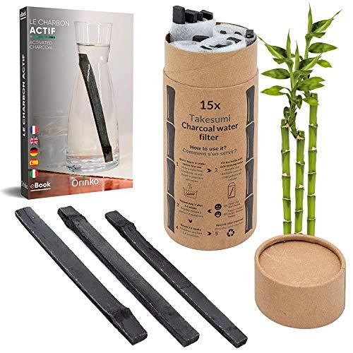 orinko - Binchotan Bio 15x | Charbon Actif Takesumi de Bambou pour Purification d'eau + E-Book | Passez-Vous des Eaux en Bouteille avec Notre Charbon Actif [𝗦𝗮𝘁𝗶𝘀𝗳𝗮𝗶𝘁𝗼𝘂𝗥𝗲𝗺𝗯𝗼𝘂𝗿𝘀𝗲]
