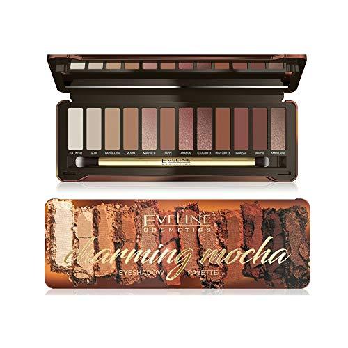 Eveline Cosmetics Mokka Lidschatten Palette | 12 warme Töne | Matte, schimmernde, neutrale Töne | Stark pigmentierte Farben | Tag und Abend Make-up | Pinsel enthalten