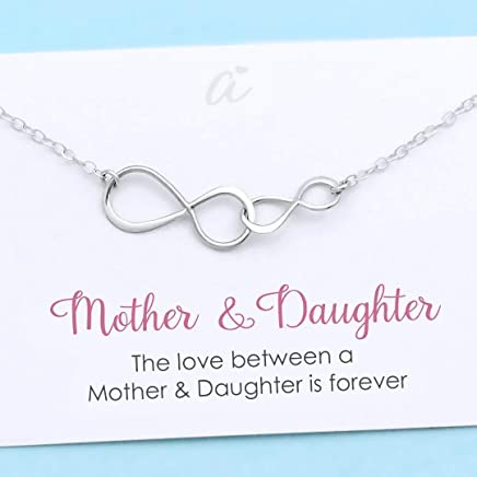 Mother and Daughter Necklace • Sterling Silver Double Infinity • Personalized Gift • Birthday Christmas Wedding • Infinite Love