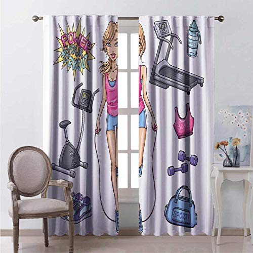 99% blackout curtains Cartoon Girl Work For bedroom kindergarten living room W84 x L84 Inch