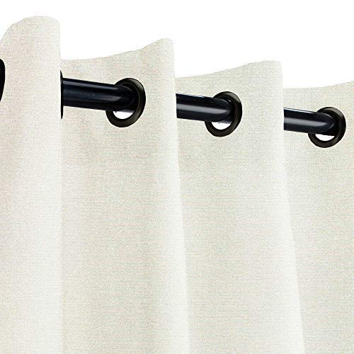 Sunbrella Canvas Natural Outdoor Curtain with Dark Gunmetal Grommets 50 in. Wide x 120 in. Long