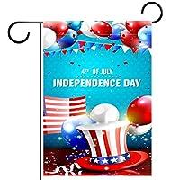 ガーデンフラッグ縦型両面 12x18inch 庭の屋外装飾.7月独立記念日の4日