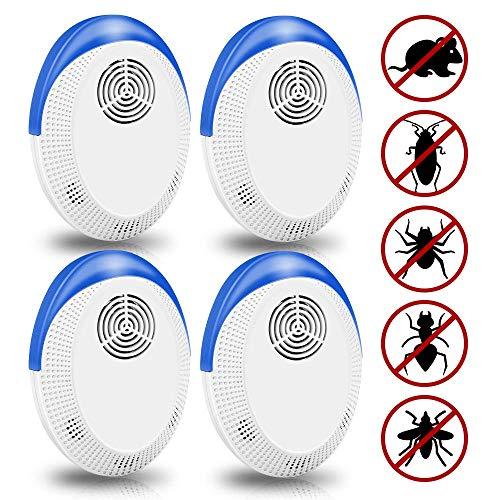 Repelente Ultrasónico, 4 piezas Repelente Electrónico de Insectos, Ultrasónico Control de Plagas, Repelente de Plagas Ultrasónico para Cucarachas, Hormigas, Ratones, Moscas, Mosquitos