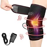 Heated Knee Brace Wrap, 3 Adjustable Heat and Vibration Knee Massager for Arthritis Knee Pain Relief Massaging Knee Pad with DC Charger