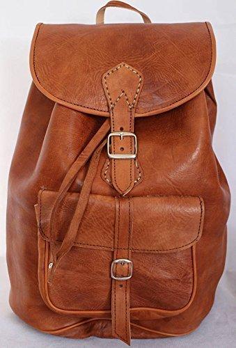 Malbro YL moroccan Large Vintage Style Real Genuine Leather Bag Rucksack Backpack Brown / 100%Handmade.