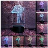 3D-Illusionslampe LED-Nachtlicht-Blitz-Ente Modell 7 Farben, die Entenkopf-Tierfigurenspielzeug für...