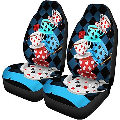 TABUE 2 stuks autostoelhoezen Hatter Wonderland Mad Tea Party piramide Alice Cup toverstafels beschermer geschikt voor auto, SUV limousine, vrachtwagen