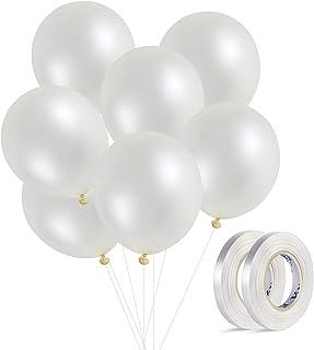 100 Pack White Balloons, 12inches Premium Helium Quality White Balloons White Shiny Latex Balloons