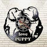 WERWN Lindo Pug Kisses Disco de Vinilo Reloj de Pared Mascota Perro Mural Arte Reloj de Pared Regalo