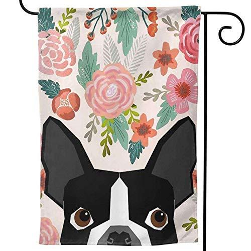 HOOSUNFlagrbfa Boston Terrier Cute Flower Garden Flag, Custom Holiday Celebrate Garden Decor Flag,12'x18' Polyester Double Sided