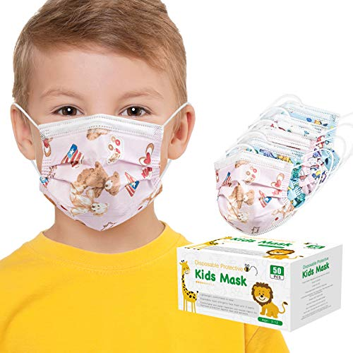 50 PCS Kids Cartoons Disposable Face Mask,50 Pack 3-Layer Facial Cover Masks with Elastic Ear Loops, Comfortable Universal Design for Kids Children(Child, Cartoons)