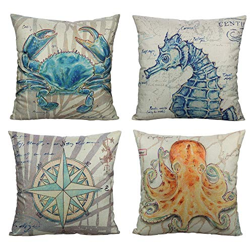 All Smiles Ocean Coastal Nautical Pillow Cover Ceses Outdoor Decoratve Marine Life Cushions 18X18 Set of 4 for Home Couch Sofa,Crab Seahorse Compass Octopus … …