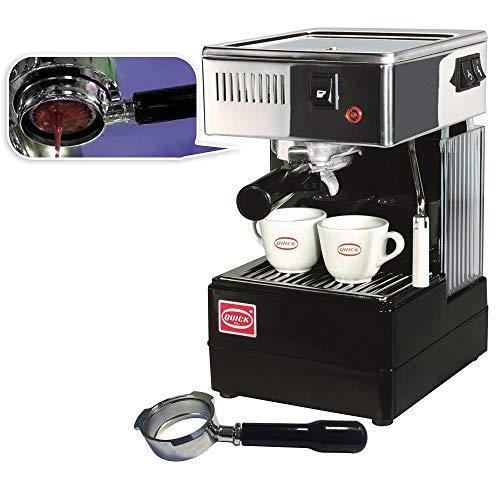 Quick Mill 0820 Schwarz Espressomaschine Made in Italy,Siebträger Espressomaschine Special Special mit Bodenloser Siebträger und std Siebträger