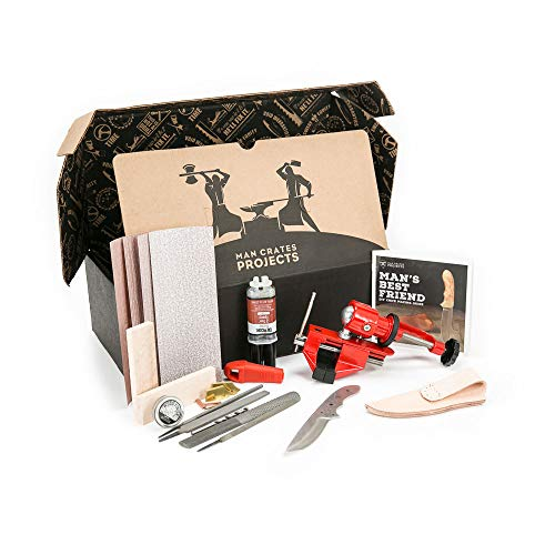 Knife Making Kit – Includes Stainless-Steel Blade, Maple Burl Handle, Brass Bolsters, Leather...