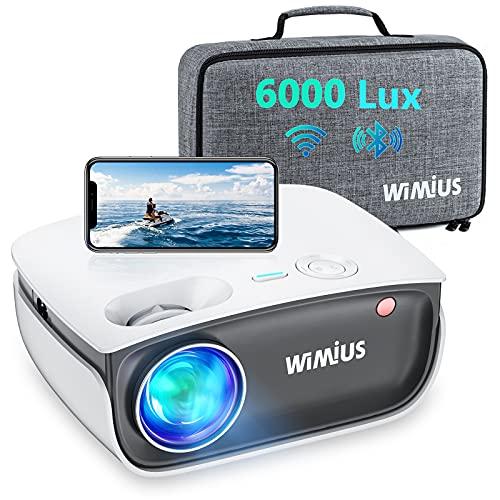 """Proiettore WiFi, WiMiUS S25 Bleutooth mini 6000 lumen LED LCD Videoproiettore, Supporto 1080P Home Cinema 200"""", Full HD 1080P Supporto Distorsione Correzione ±15°, per Fire TV Stick PS4 PC iPhone"""