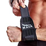 """Mava Sports Strong Wrist Support Wrist Wraps with Hook and Loop Closure for Cross Training, Weight Lifting & WOD, 14"""" Black/Yellow/Blue"""