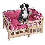 Camas Perros Calentador de Cama para Mascotas, Escaleras de Madera Maciza para Perros/Gatos con Funda de Cama y Almohada, Sofá Lounge Elevado de Seguridad Casetas de Madera, Lavables