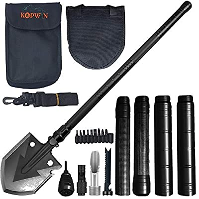 Kopwin Folding Shovel and Camping Multitool Survival Shovel Heavy Duty Blade. Portable and Lightweight Military Grade Camp Shovel and Entrenching Tool for Hiking, Snow, Backpacking, and Car Safety.