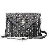 Chikencall® Bolso de mano Envelope Clutch vintage, gótico, de piel, con correa de cadena, color negro