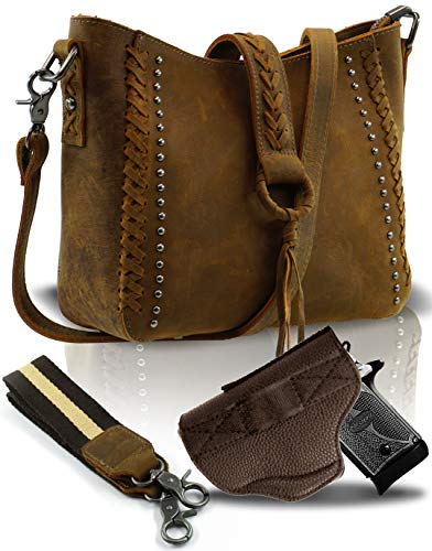 Genuine Leather Concealed Carry Crossbody Purse for Women Studded Real Cowhide Shoulder Bag With Long Strap Gun Conceal MWL-G001BR