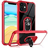 Tuerdan iPhone 11 Case with Ring Holder, Military Grade Clear Crystal Phone Case with Car Mount Kickstand for Apple iPhone 11 6.1 inch, Red