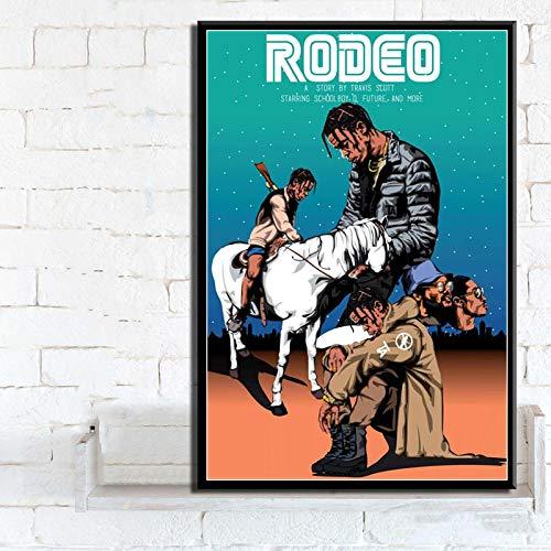 Aishangjia Travis Scott Astroworld Rodeo Days Rap Music Album Poster Prints Canvas Painting Wall Art Living Room Bedroom Home Decor 40x50 cmJ-1519