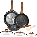 ESLITE LIFE Frying Pan Set with Lid Nonstick Induction Skillet Set Egg Omelette Maker Pan with Granite Coating and Wooden Spatula, 7-Piece