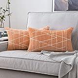 MIULEE 2 Piezas Fundas de Cojines para sofá Gamuza Sintética Almohada Caso de Diseño Geométrico Decorativas Fundas Cojines para Habitacion Juvenil Sofá Comedor Cama 30x50cm Naranja