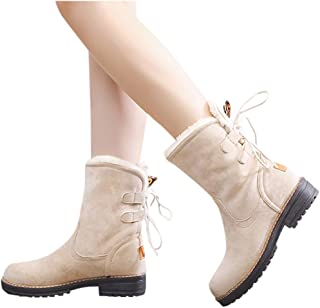 Women Fur Lined Snow Boots, Combat Style Mid Calf Suede Booties Low Heel Lace Up Closed Toe Outdoor Western Shoes