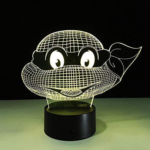 Lámpara LED de tortugas ninja mutantes 7 colores cambiantes lámparas de luz nocturna de tortuga 3D Touch Nightlight niños regalo para adolescentes