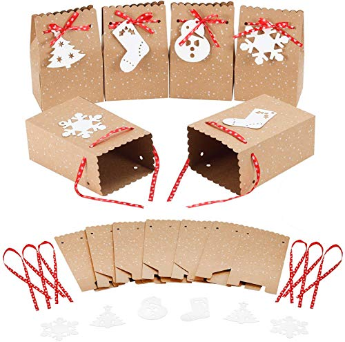 """MonQi 30 Pieces Gran Capacidad Bolsas de Papel Navideñas con 30 Etiquetas Navideñas y Cinta Navideña, Caja de Papel de Navidad Fácil de Plegar para Decoraciones Navideñas (4.5 """"x 3"""" x 7 """")"""