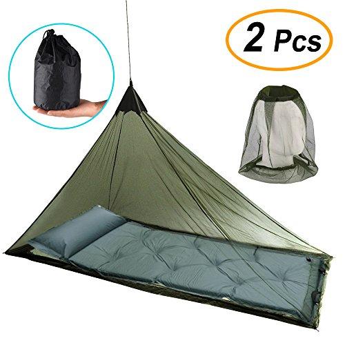 FEPITO mosquitera para cama individual para acampar y Mosquito Mosquito cabeza de insecto neta sombrero para viajar acampar Pesca Senderismo, con 4 clavijas y 1 bolsa de transporte como bonificación